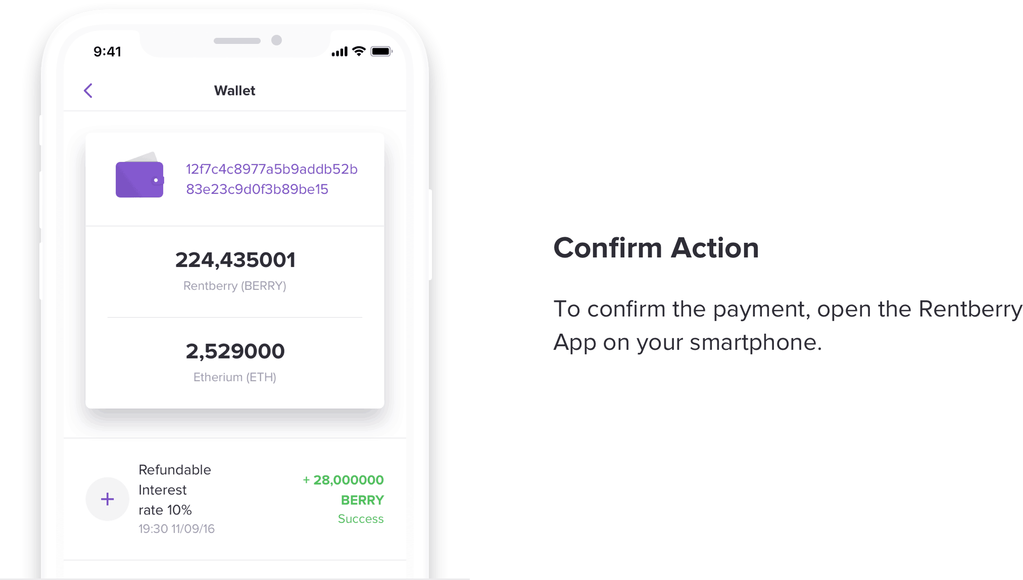 Confirm your transactions in Rentberry Wallet